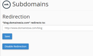 manage redirection subdomain
