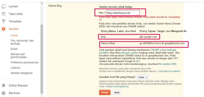 custom subdomain ke blogspot